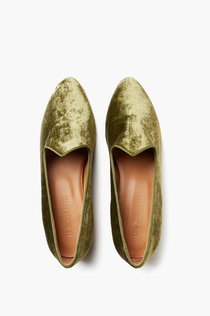 forest green velvet venetian slipper