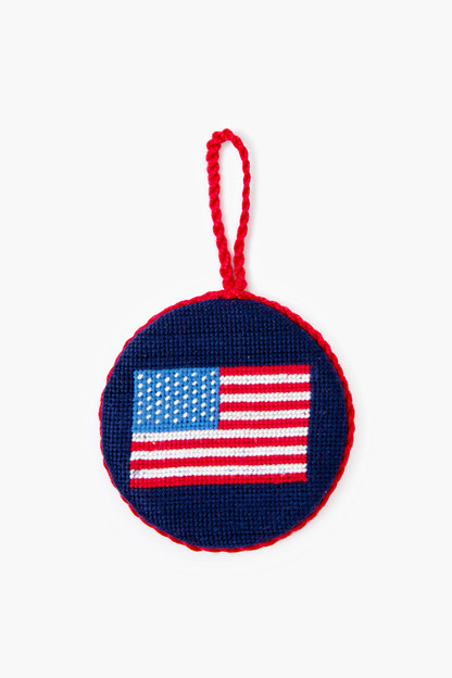 american flag needlepoint ornament