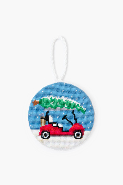 christmas golf cart needlepoint ornament