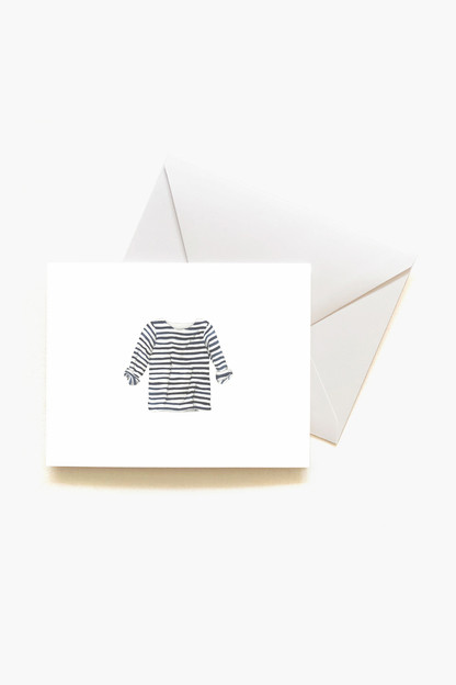 navy striped shirt boxed notes set