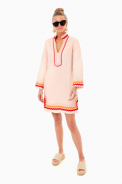 blush long sleeve sunset tunic dress