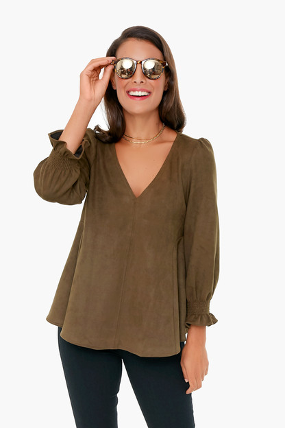 olive suede easton blouse