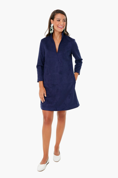 navy suede three quarter sleeve clifton dress