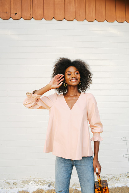 blush faux leather easton blouse