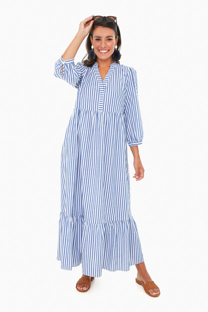 Blue Stripe Serafina Maxi Dress