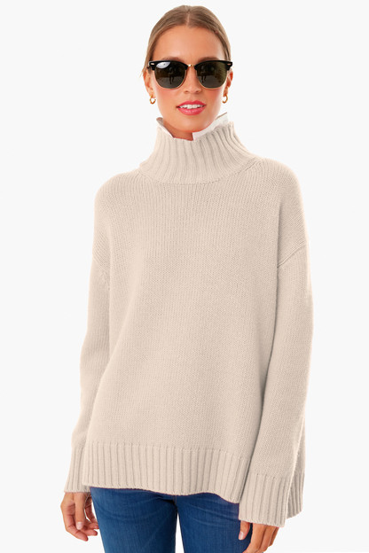 oatmeal removable popped collar dickey sweater