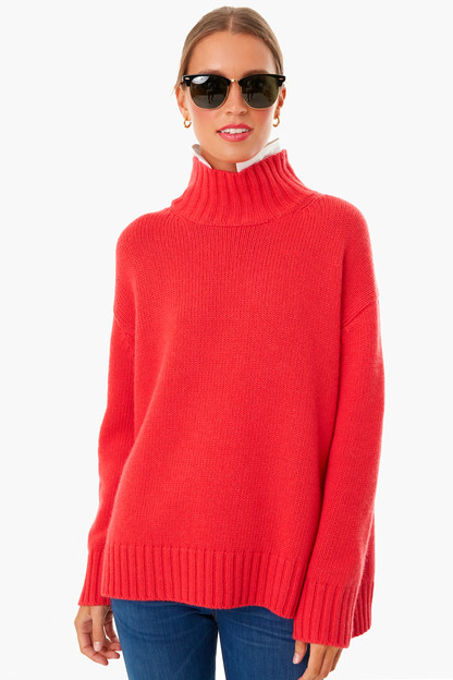 candy apple red removable popped collar dickey sweater
