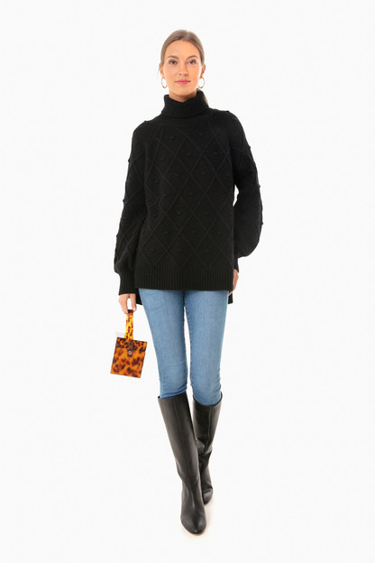 jet black kent popcorn sweater