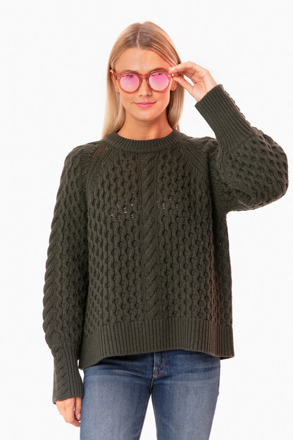 moss green honeycomb sweater