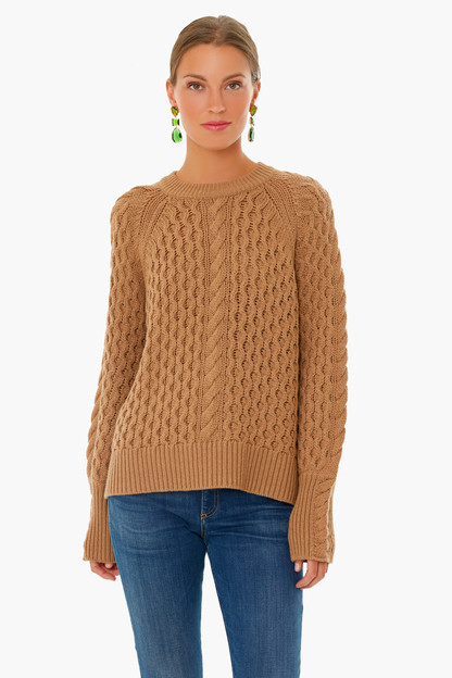 camel honeycomb sweater