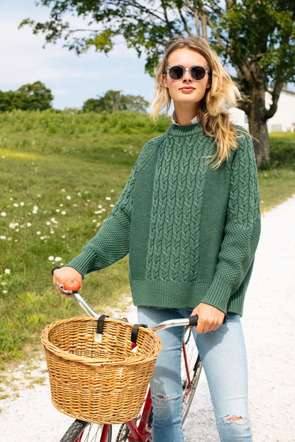 aspen green mixed cable charles sweater