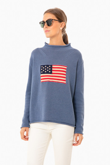denim blue americana sweater