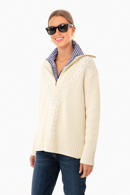 ivory quarter zip estella sweater