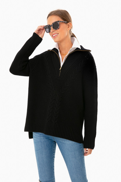 black quarter zip estella sweater