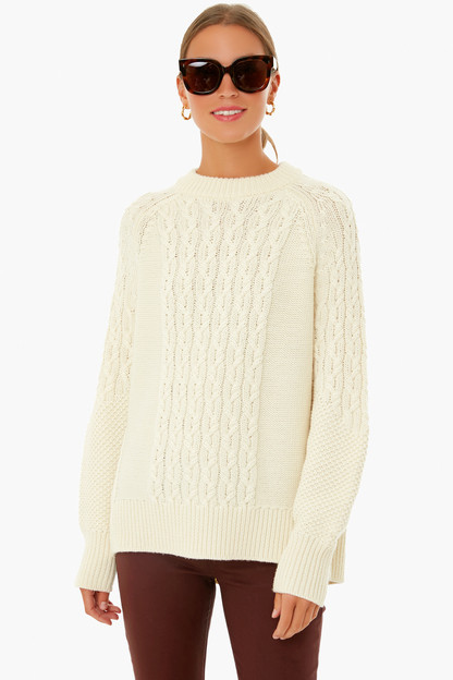 ivory mixed cable charles sweater