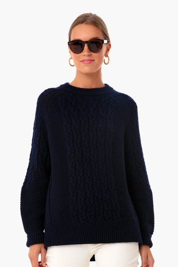navy mixed cable charles sweater