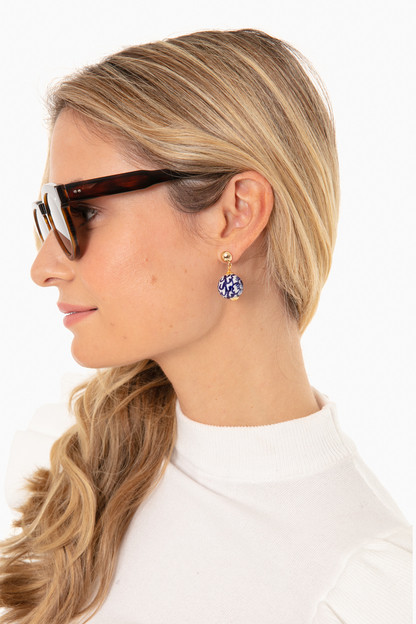 blue and white refined earrings
