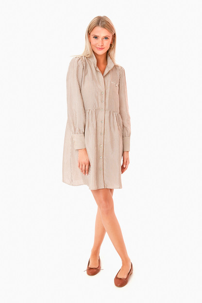 tan stripe florence shirt dress