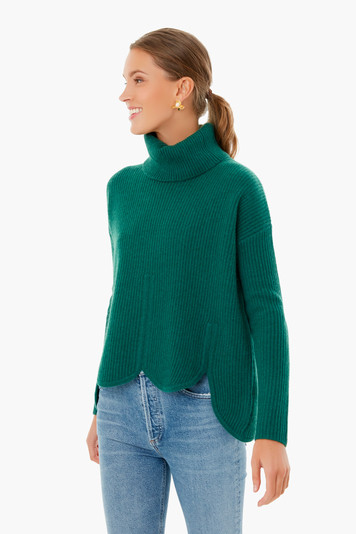 hunter green anna scallop hem sweater