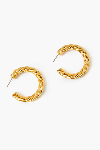 gold french twist large hoop earrings