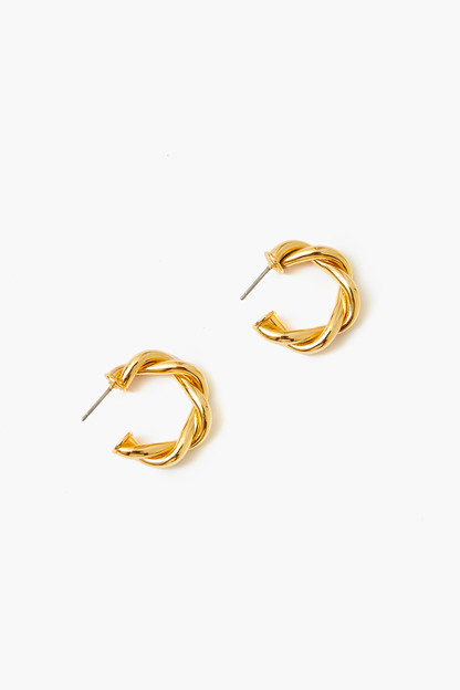 gold french twist mini hoop earrings