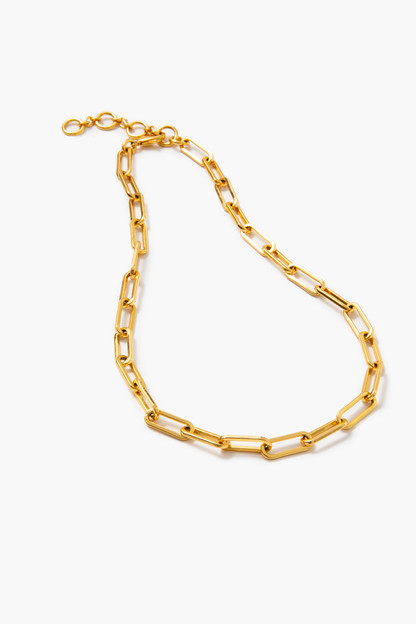 gold paperclip chain link necklace