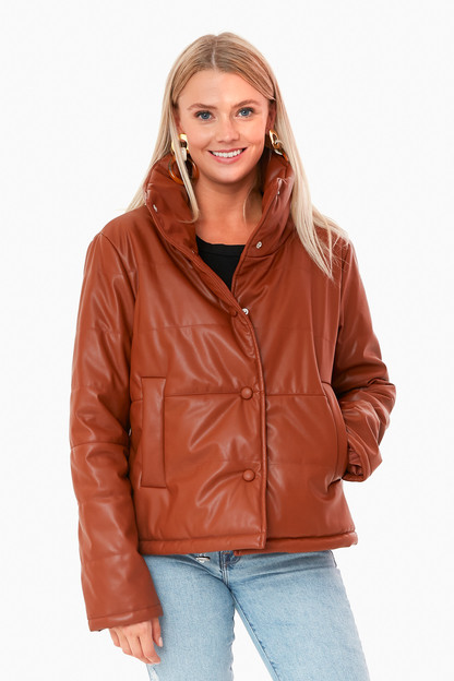 cognac leather ralph jacket