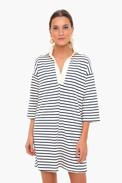 navy stripe ashton knit polo dress