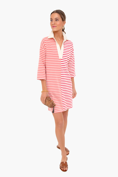 red stripe ashton knit polo dress