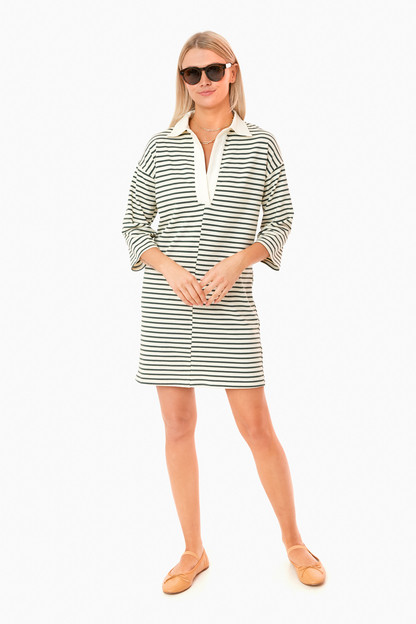 green stripe ashton knit polo dress