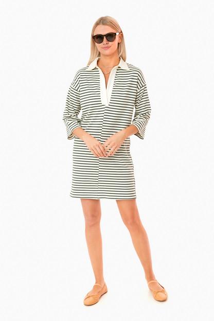 Green Stripe Ashton Knit Polo Dress