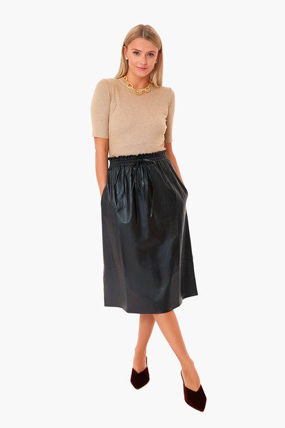 black leather cece skirt