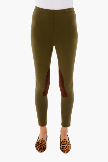 olive suede patch riding legging