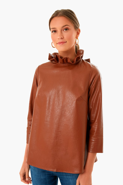 Cognac Leather Faye Blouse Order by 12/21 with Expedited Shipping for Delivery by 12/25.