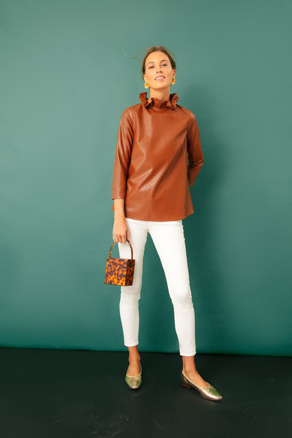 cognac leather faye blouse