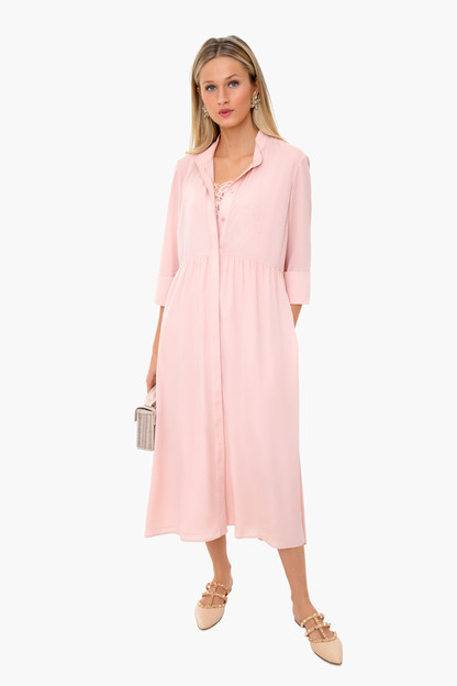 blush lace underlay midi royal shirt dress