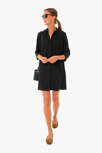 black stretch crepe royal shirt dress