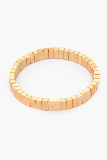 gold tiny tile bracelet