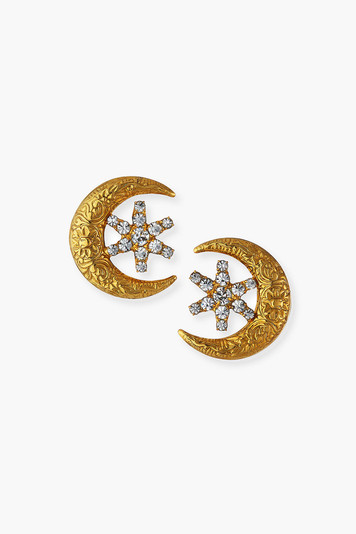 crystal antique gold callisto stud earrings
