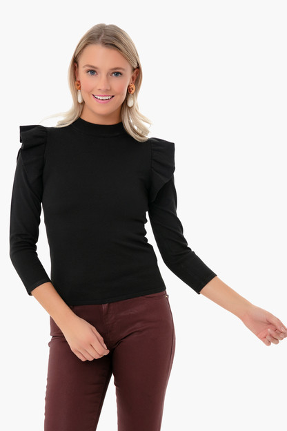 black ruffle long sleeve sweater