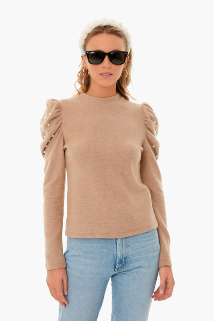 Camel Pearl Detail Puff Sleeve Sweater