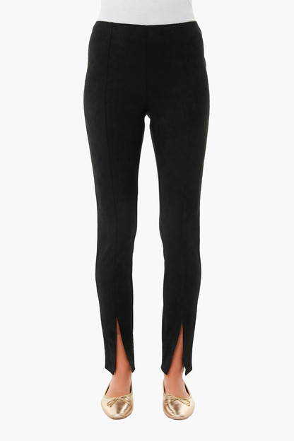 black suede slit-front sloane leggings