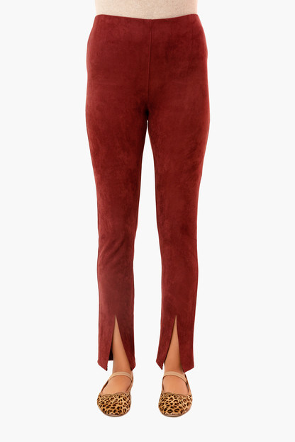 bordeaux suede slit-front sloane leggings