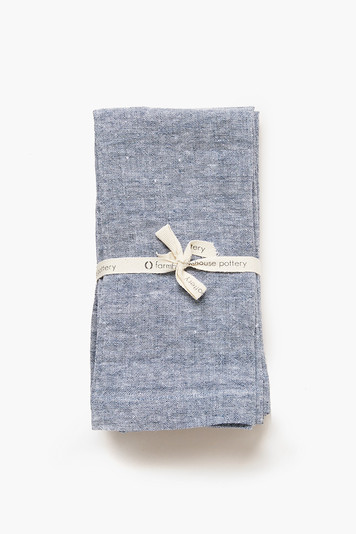 indigo washed linen napkins