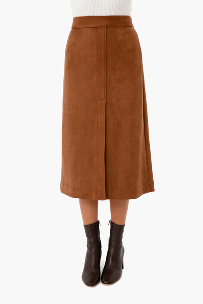 chocolate suede kennedy midi skirt