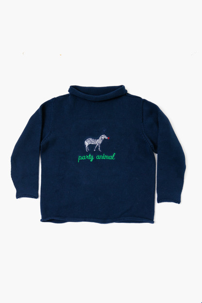 navy party animal roll neck sweater