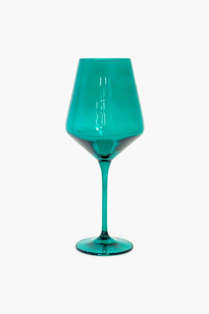 emerald green stemmed wine glasses (set of 6)