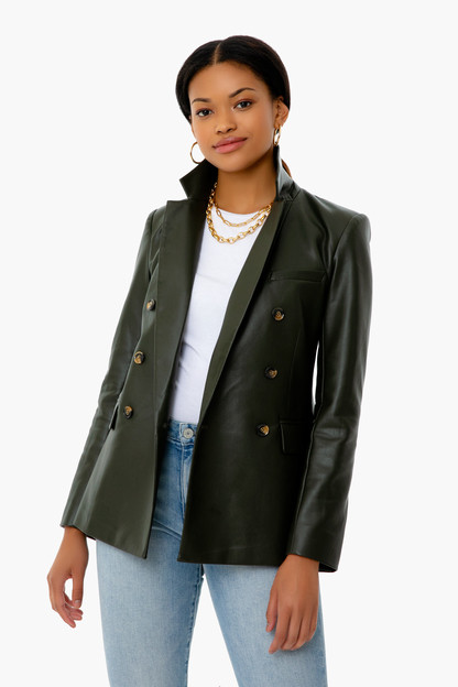 green leather james blazer