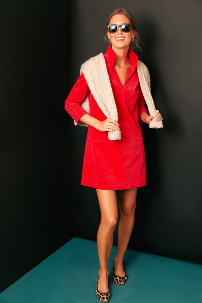 poppy red micro corduroy three quarter sleeve clifton dress