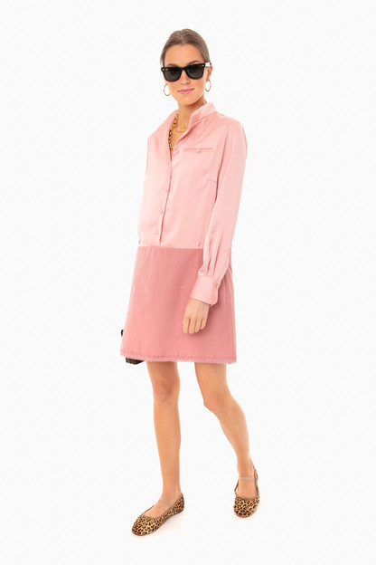 blush silk delfina shirt dress